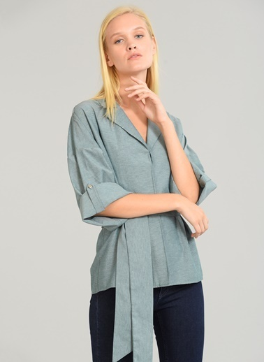 People By Fabrika Bağlamalı Kimono Yeşil